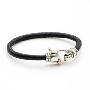 Black Leather Bracelet with Sterling Silver Hook - Baltinester Jewelry
