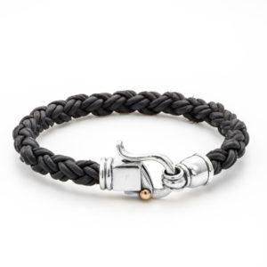 Braided Leather Bracelet with Byzantine Sterling Silver Clasp - Baltinester Jewelry