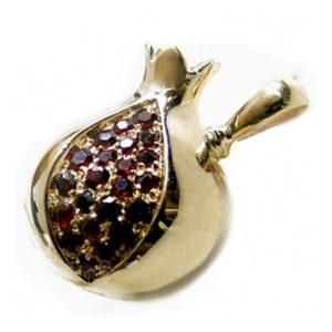 Garnet Pomegranate Pendant 14k Rose Gold - Baltinester Jewelry