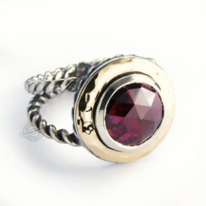 Large Garnet Gemstone Sterling Silver and 9k Gold Ring - Baltinester Jewelry