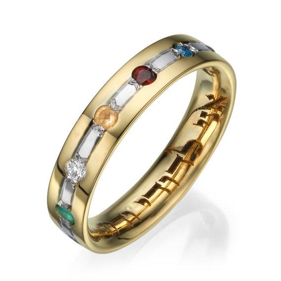 Slim 14k Multicolored Wedding Ring Ani Ledodi - Baltinester Jewelry