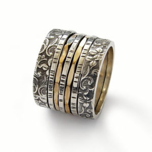 Sterling Silver and Gold Floral Spinner Ring - Baltinester Jewelry