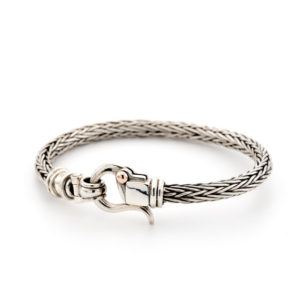Braided Silver Bracelet For Men With 9k Gold Dot - Baltinester Jewelry