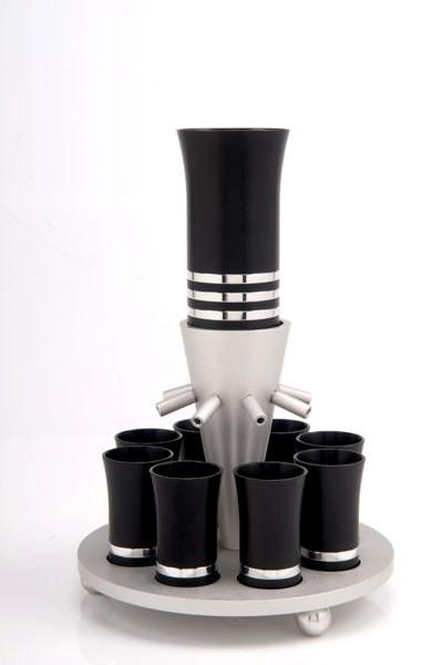 Kiddush Cup Wine Fountain Set for 8 - Black - Baltinester Jewelry