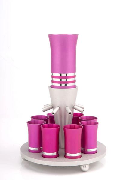 Kiddush Cup Wine Fountain Set for 8 - Bright Pink - Baltinester Jewelry