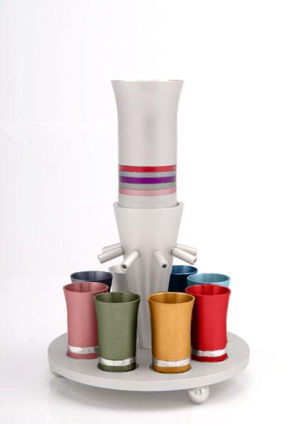 Kiddush Cup Wine Fountain Set for 8 - Multi - Baltinester Jewelry