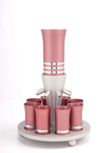 Kiddush Cup Wine Fountain Set for 8 - Pink - Baltinester Jewelry