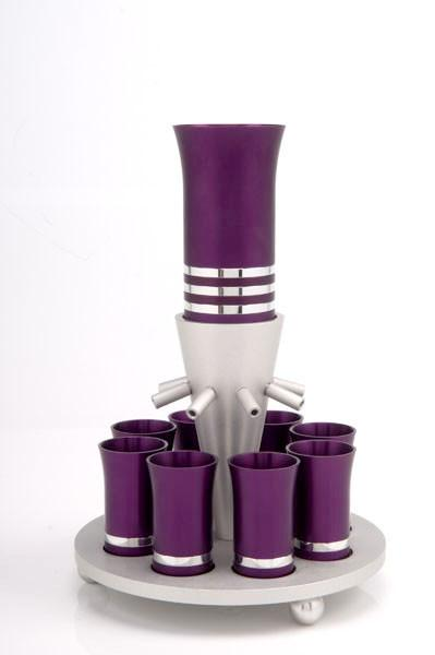 Kiddush Cup Wine Fountain Set for 8 - Purple - Baltinester Jewelry