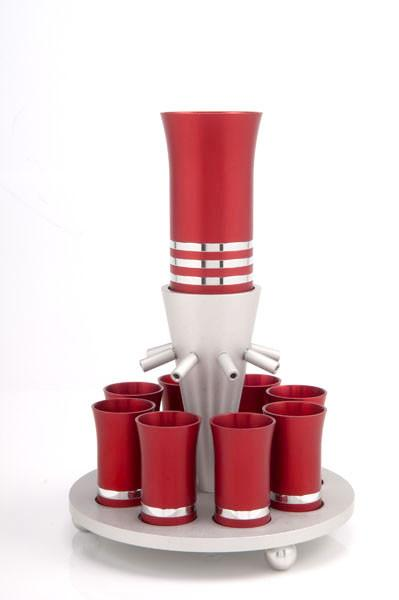 Kiddush Cup Wine Fountain Set for 8 - Red - Baltinester Jewelry