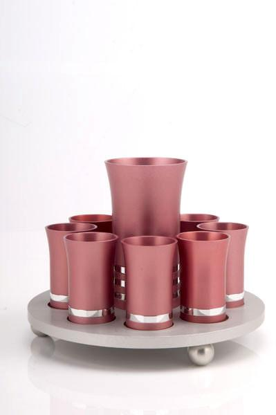 Kiddush Cup Set for 8 - Pink - Baltinester Jewelry