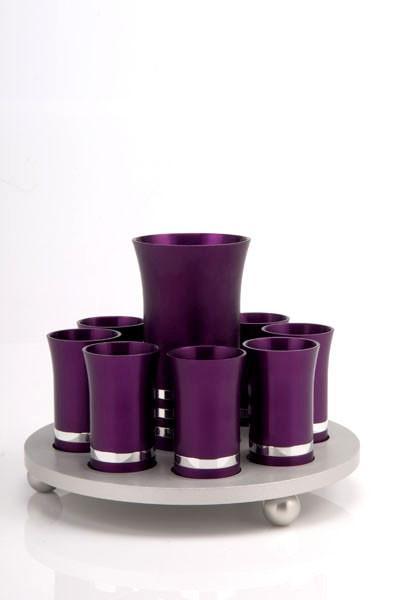 Kiddush Cup Set for 8 - Purple - Baltinester Jewelry
