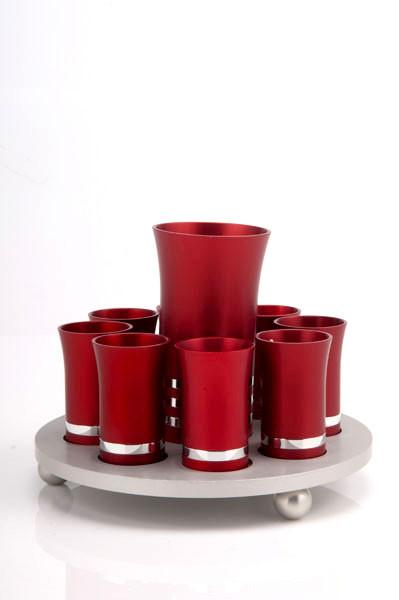 Kiddush Cup Set for 8 - Red - Baltinester Jewelry