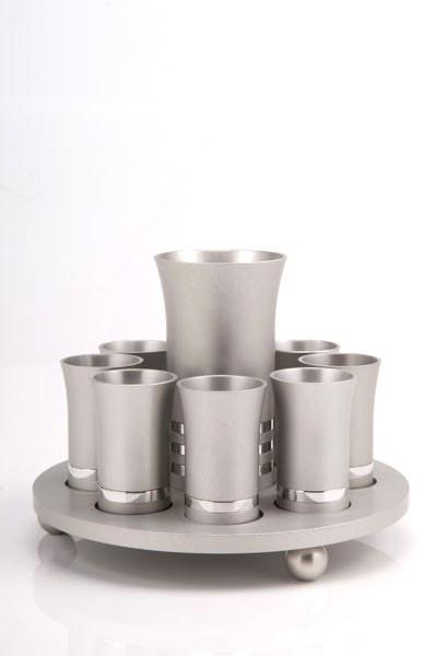 Kiddush Cup Set for 8 - Silver - Baltinester Jewelry
