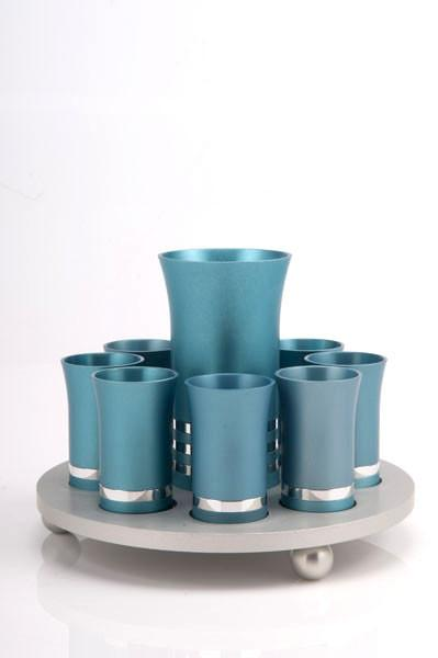 Kiddush Cup Set for 8 - Teal - Baltinester Jewelry