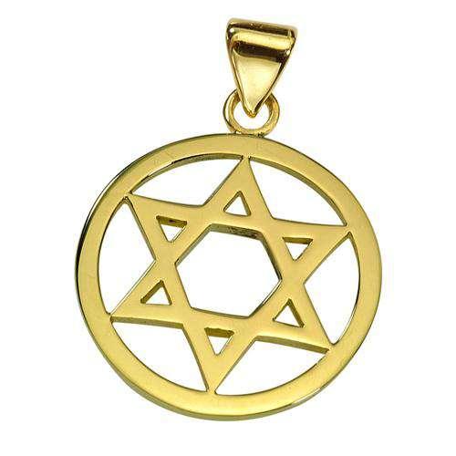 Classic 14k Gold Star of David Round Pendant - Yellow Gold - Baltinester Jewelry