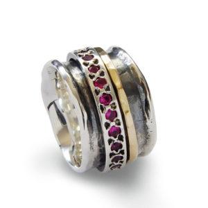 Ruby Spinner Ring Sterling Silver with 9k Gold - Baltinester Jewelry