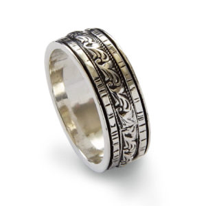 Sterling Silver Spinner Ring With Byzantine Pattern Design - Baltinester Jewelry