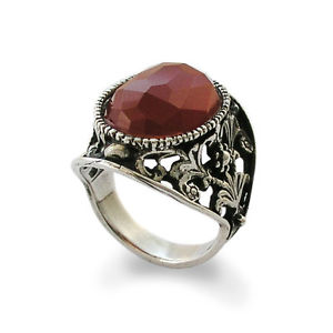 Red Carnelian Ring Sterling Silver with Filigree Carvings - Baltinester Jewelry