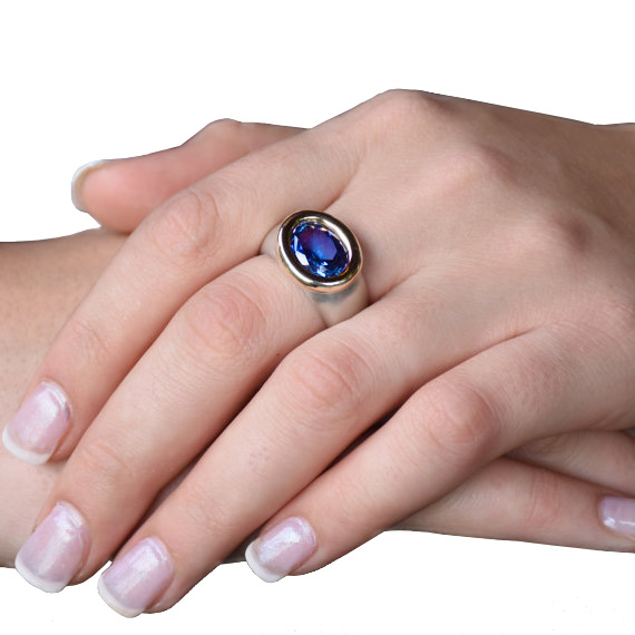 Sterling Silver and Yellow Gold Ring With Blue Oval Sapphire 2 - Baltinester Jewelry