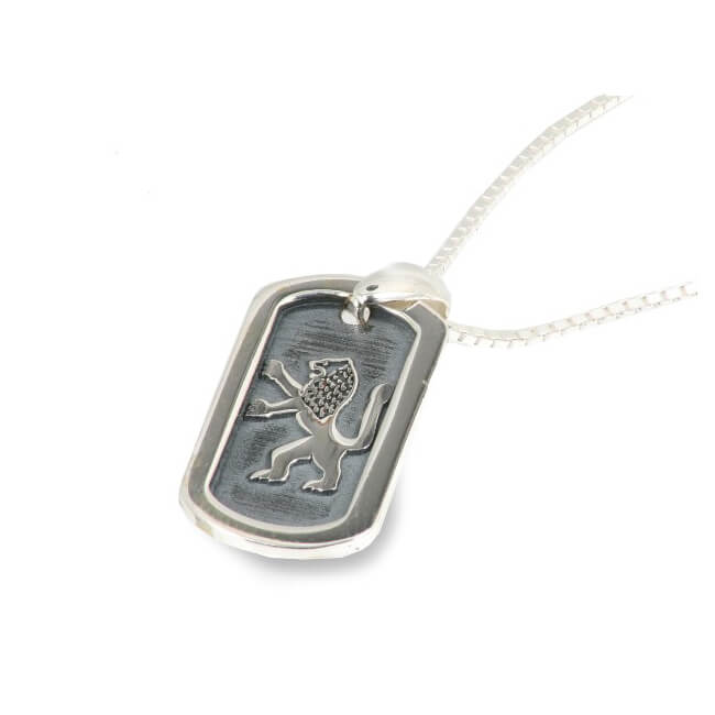 Oxidized Sterling Silver Lion of Judah Pendant - Baltinester Jewelry