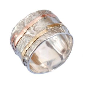 Silver and Gold Wide Hammered Ring - Baltinester Jewelry