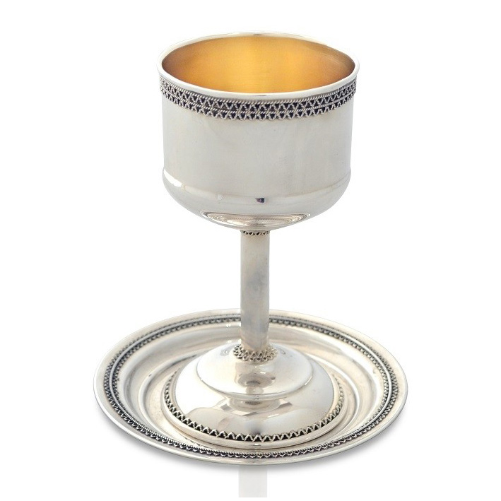 Classic Sterling Silver Kiddush Cup and Plate Set - Baltinester Jewelry