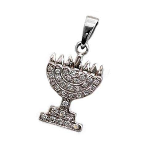 14k Gold Diamond Menorah Pendant - White Gold - Baltinester Jewelry