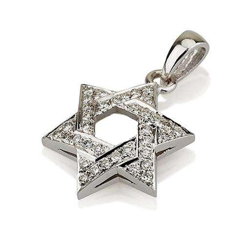 18k Gold Diamond Star of David Pendant - White Gold - Baltinester Jewelry