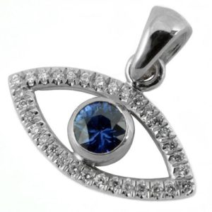 Evil Eye 14k Gold Diamond and Sapphire Pendant - Baltinester Jewelry