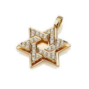 18k Gold Diamond Star of David Pendant - Baltinester Jewelry