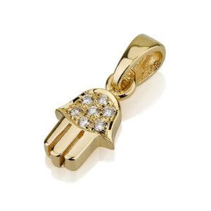 18k Gold Diamond Hamsa Charm - Baltinester Jewelry