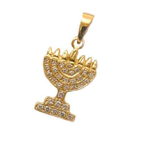 14k Gold Diamond Menorah Pendant - Yellow Gold - Baltinester Jewelry
