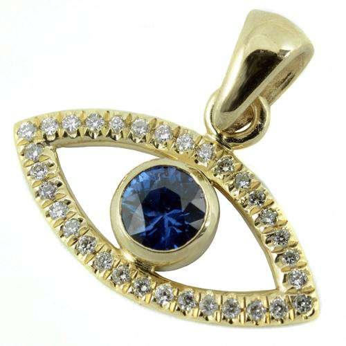 14k Gold Evil Eye Diamond and Sapphire Pendant - Baltinester Jewelry