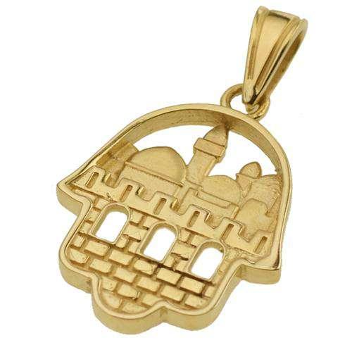 14K Gold 3D Jerusalem Hamsa Pendant - Yellow Gold - Baltinester Jewelry