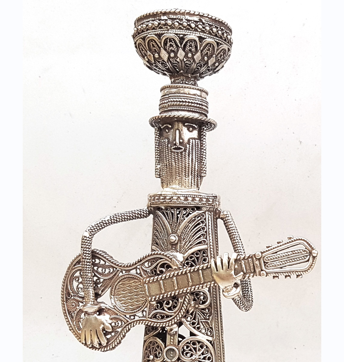 Hasidic Musicians Sterling Silver Candlesticks 2 - Baltinester Jewelry