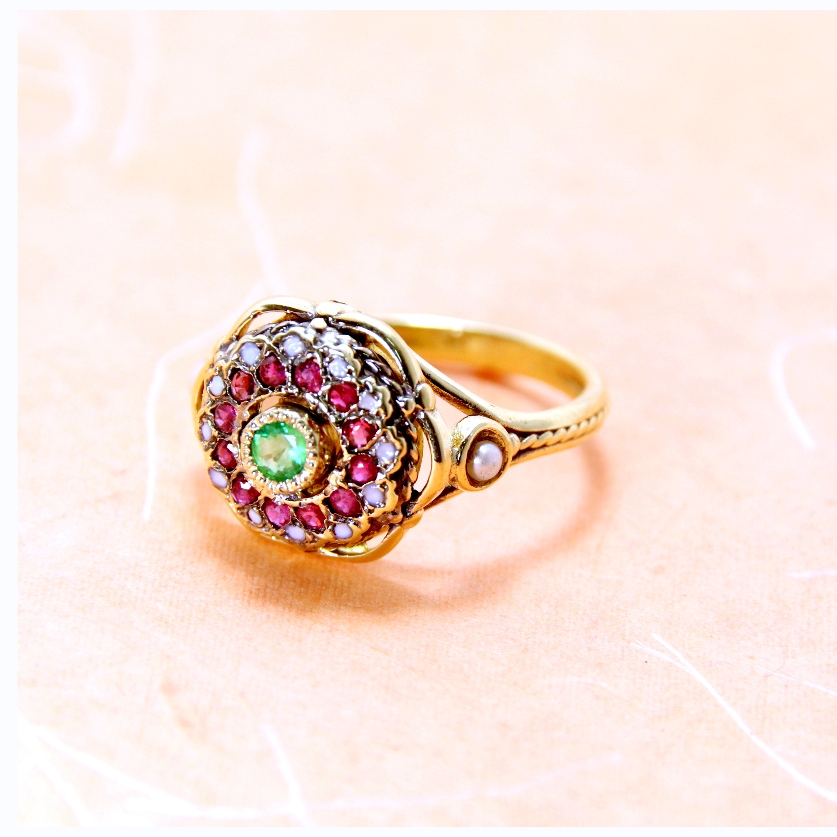 Emerald Flower Ring 14k Gold 2 - Baltinester Jewelry