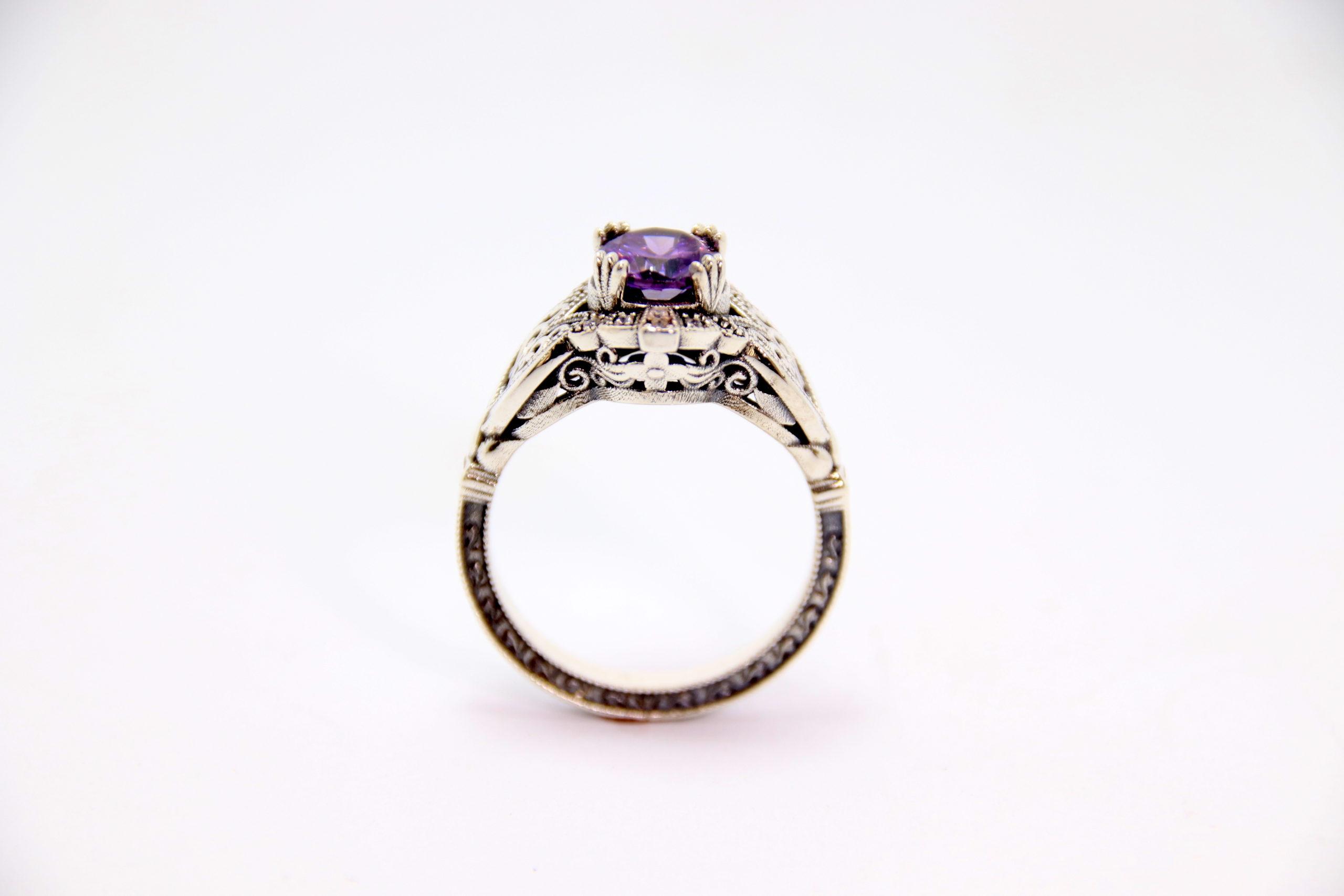 White Gold Amethyst Diamond Ring 2 - Baltinester Jewelry