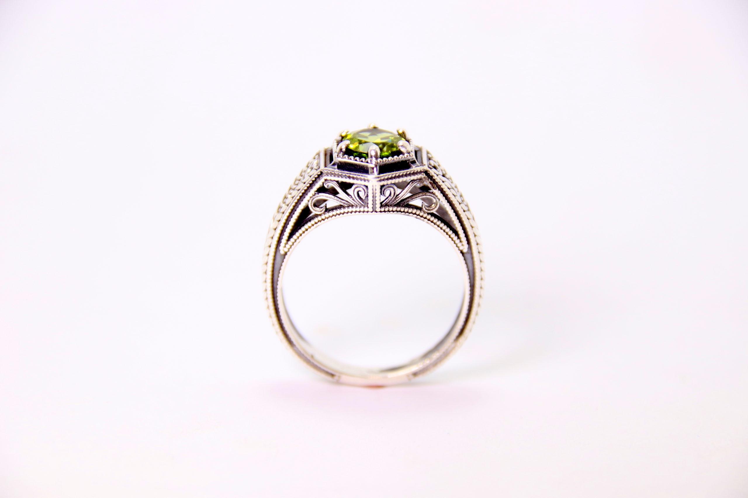 14k White Gold Peridot Ring 2 - Baltinester Jewelry