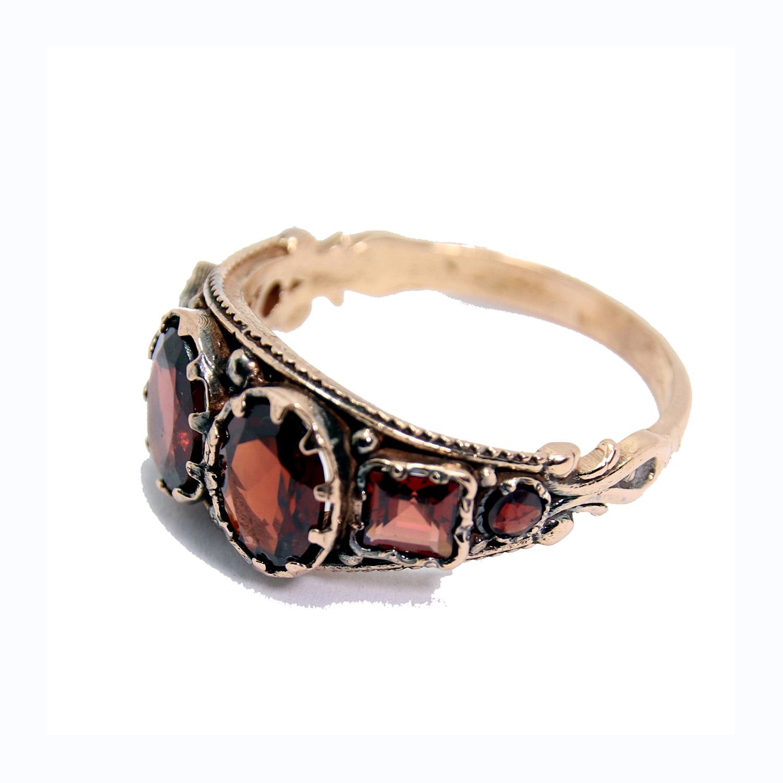 14k Rose Gold Antique Garnet Ring 2 - Baltinester Jewelry