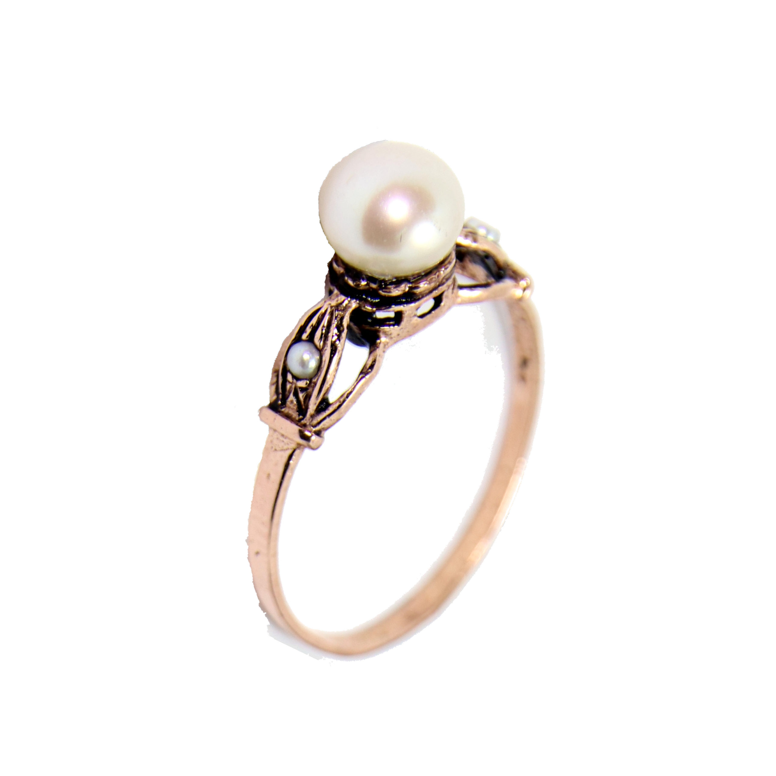 Art Deco Rose Gold Pearl Ring - Baltinester Jewelry