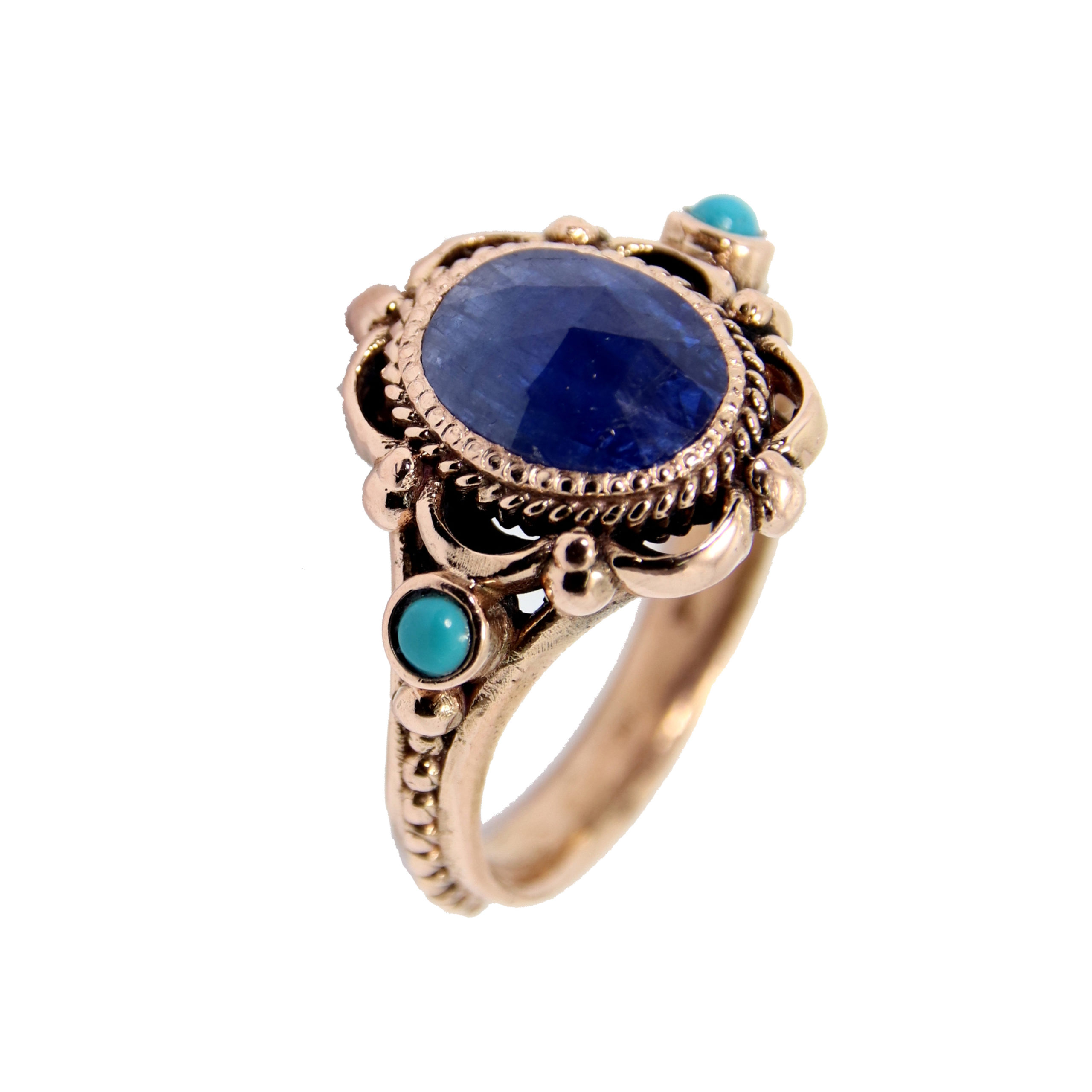 Raw Sapphire & Turquoise Rose Gold Ring - Baltinester Jewelry