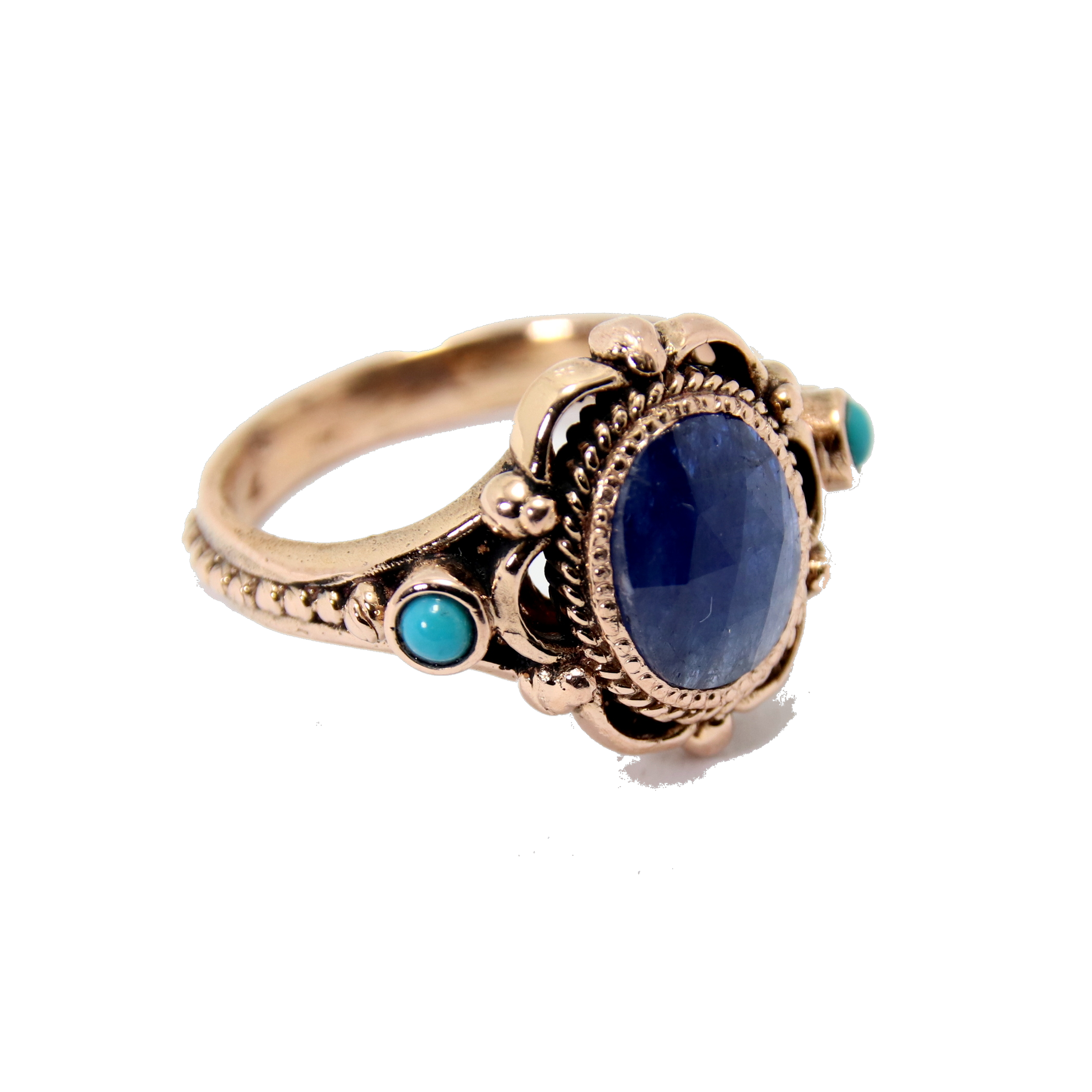Raw Sapphire & Turquoise Rose Gold Ring 2 - Baltinester Jewelry