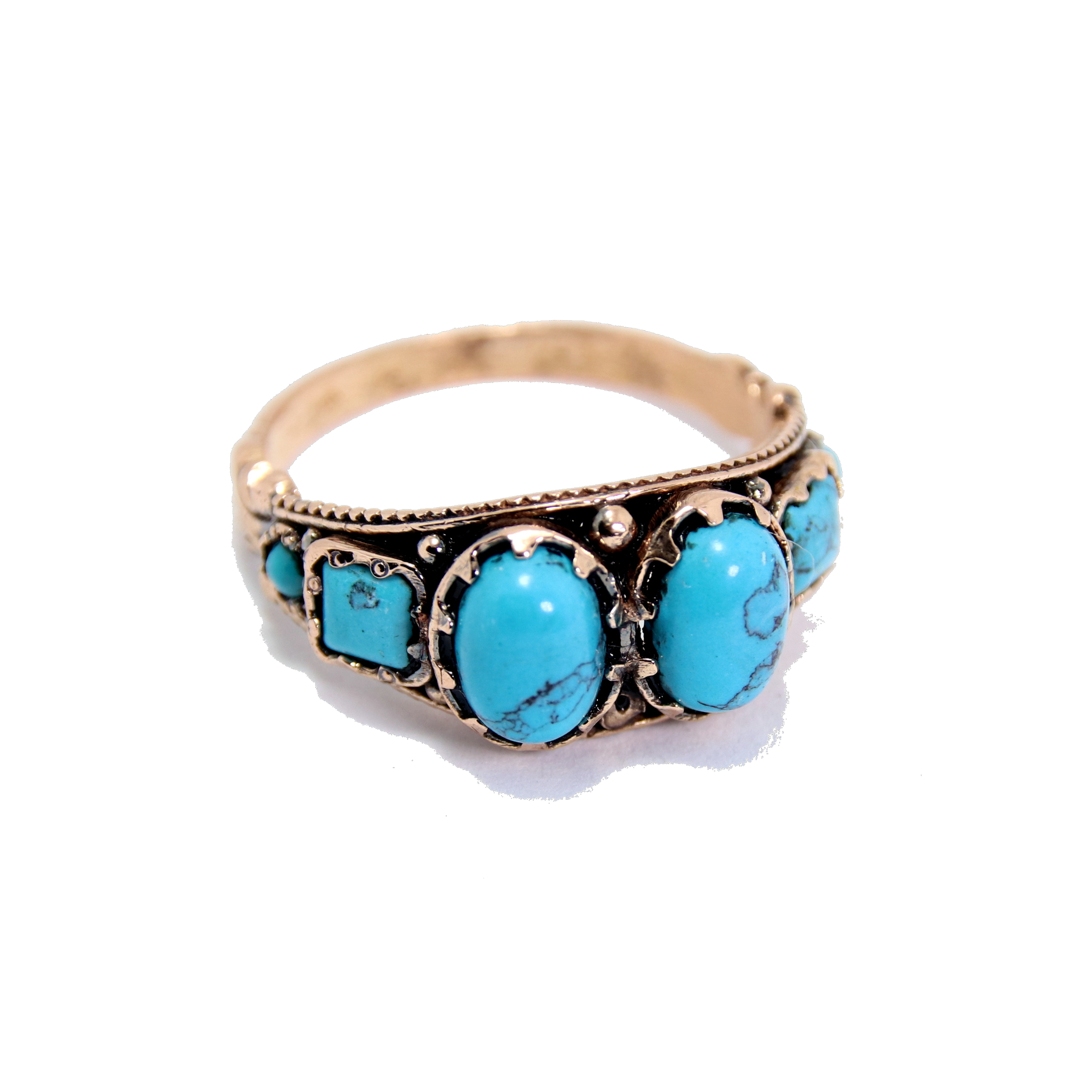 Antique Rose Gold Turquoise Ring 2 - Baltinester Jewelry