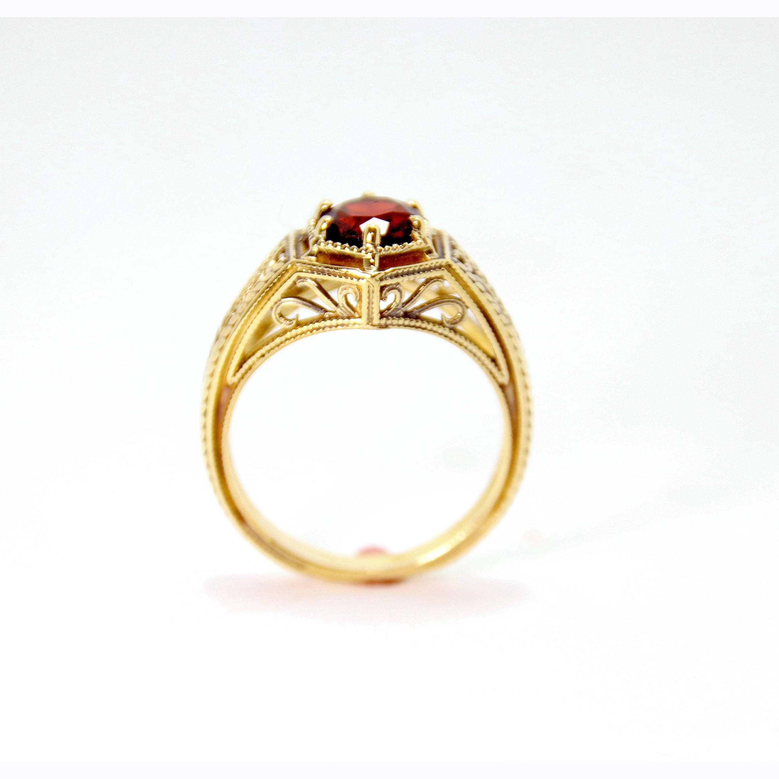 14k Yellow Gold Garnet Ring 2 - Baltinester Jewelry