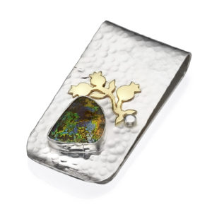 silver and gold roman glass money clip
