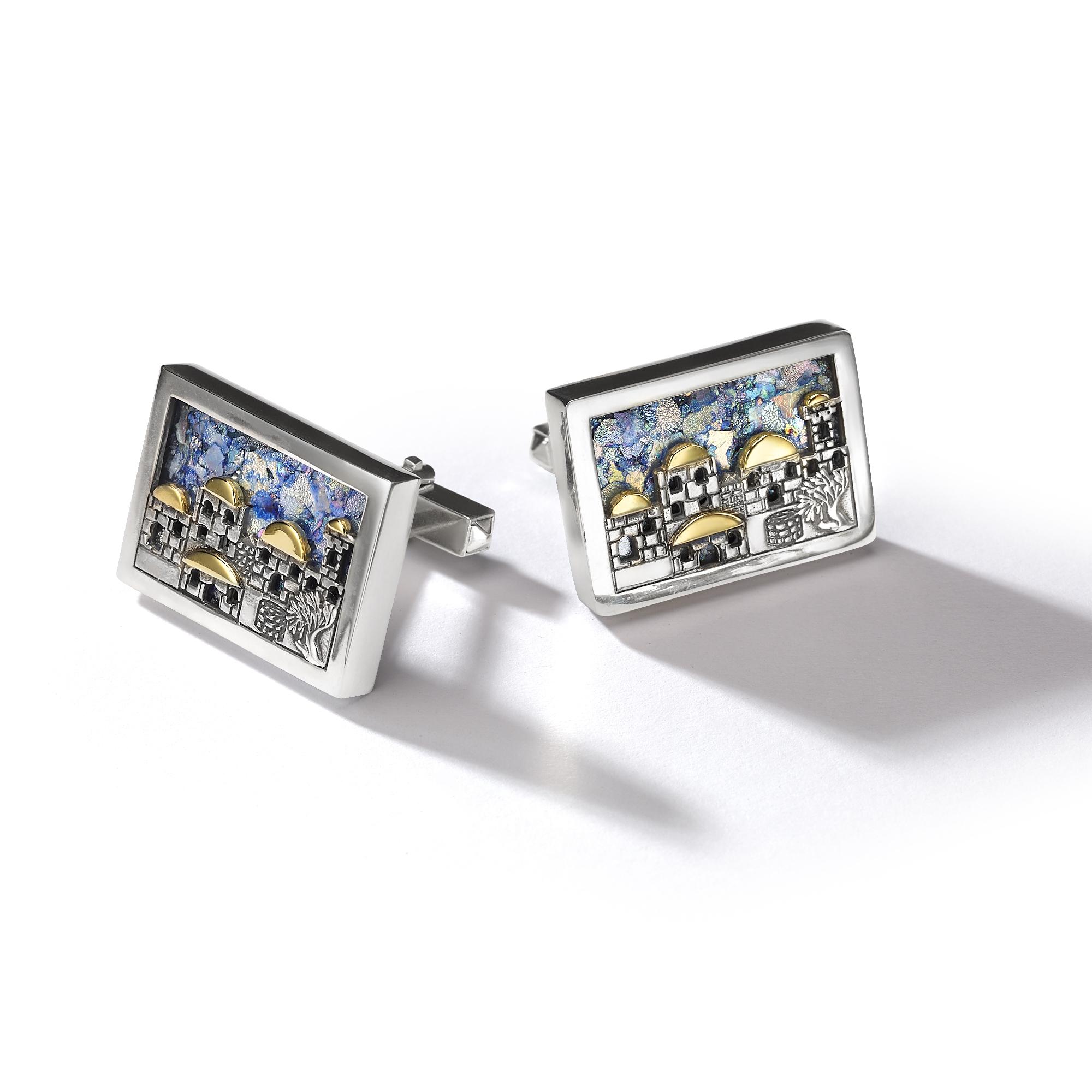 roman glass jerusalem cufflinks