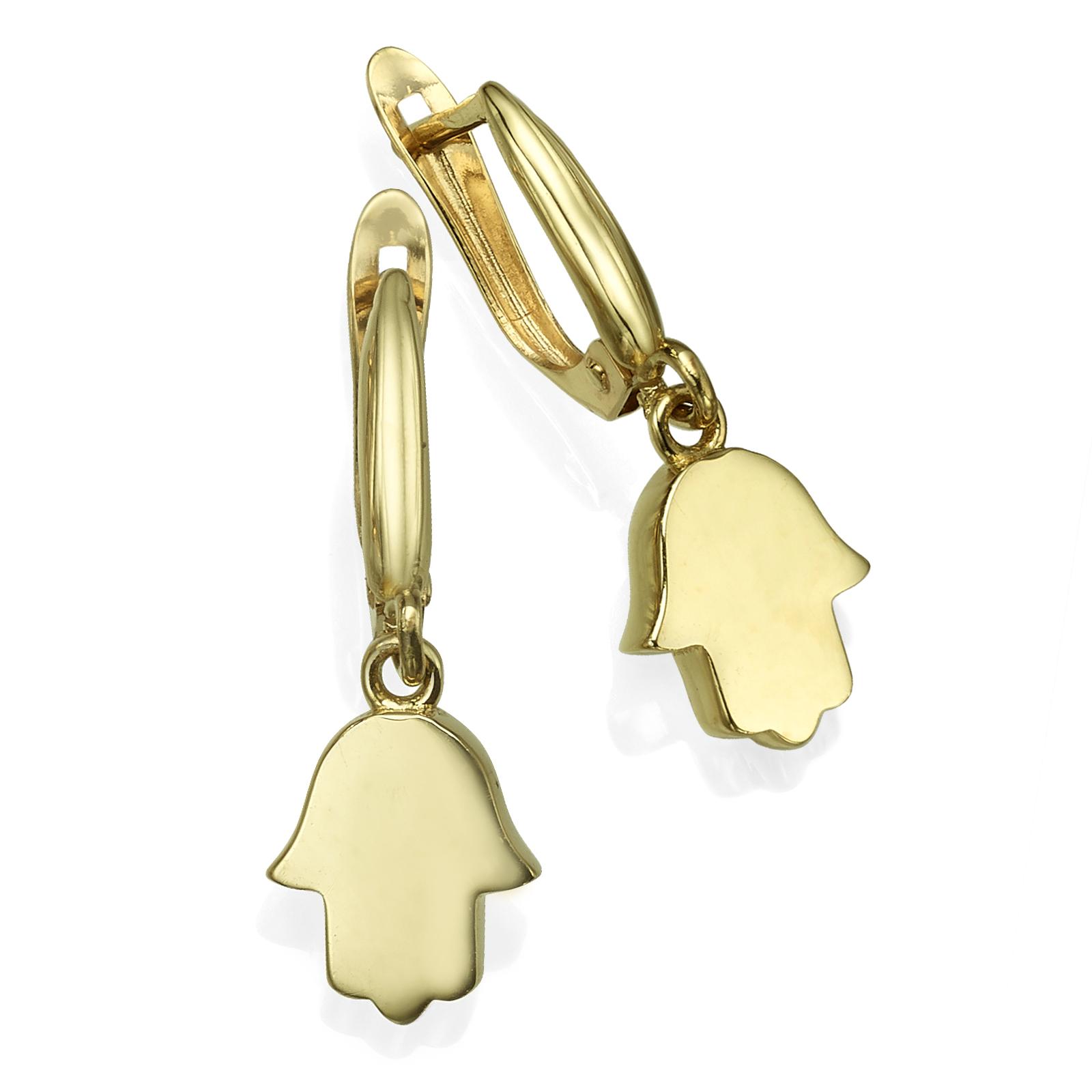 Yellow gold Hamsa earrings