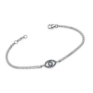 Reversible 14k White Gold Diamond & Sapphire Evil Eye Bracelet - Baltinester Jewelry