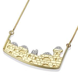 14k Gold Diamond Old City Jerusalem Pendant - Baltinester Jewelry