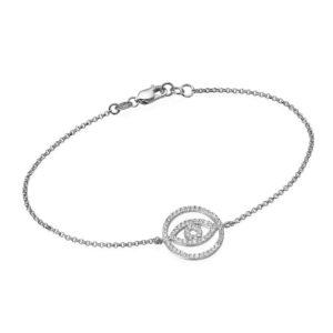 14k White Gold Evil Eye Diamond Bracelet - Baltinester Jewelry